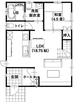 高性能コンパクト住宅 EXY(参考プラン1F)