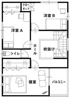 高性能コンパクト住宅 EXY(参考プラン2F)