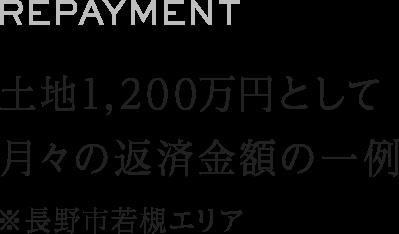 月々の返済金額の一例