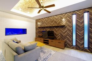 折り上げ天井×大型水槽で魅せる広々LDKの家 ハーバーハウス長野支店