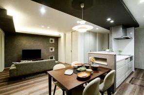 モルタル調とヘリンボーン 素材感を活かしたリビングテラスの家 ハーバーハウス長野支店