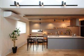 吹き抜け&アイランドキッチンがスタイリッシュな広々LDKの家 ハーバーハウス長野支店